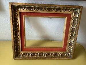 Gold Vtg Mid Century Retro Modern Picture Art Paining Frame Wood Wooden Carved