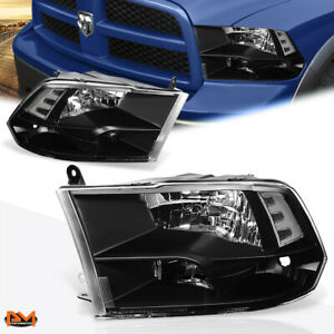 For 09 18 Dodge Ram Pickup Black Housing Clear Corner Quad Headlight Lamp Set