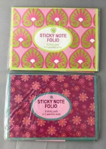 Bundle Of 2 Floral Sticky Note Folio s 16 Sticky Pads In 5 Different Shapes