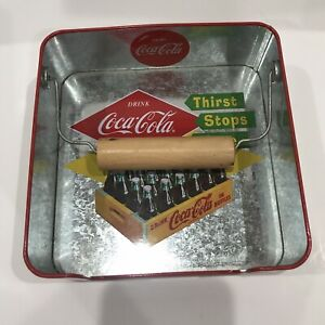 Coca-Cola Napkin Holder. Metal with Wooden Weight