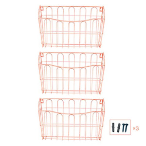 Hanging File Organizer 3 Pocket Wall Mount Document Letter Tray Rose Gold 2 67lb