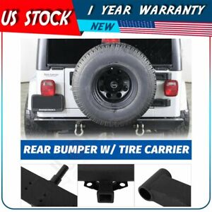 Rear Bumper Tire Carrier For Jeep Wrangler 87 96 Yj 97 06 Tj Powder Coated