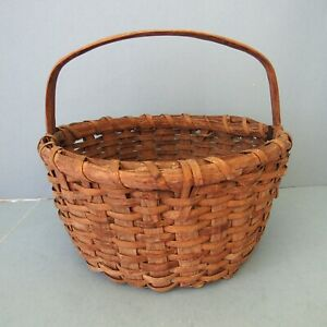 Oak Splint Handled Basket Small Storage Gathering Primitive Vintage Antique