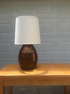 Mid Century Modern Table Lamp With Teak Danish Style With New Shade