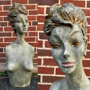 Vintage 50s Green gold Female Woman Mannequin Bust Torso Creepy Head Oddity 60s