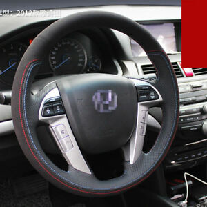 For Honda Crosstour 2012 Car Steering Wheel Cover Black red Leather Hand Sewing