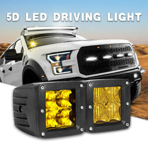 2x 3 24w Square Led Work Light Spot Amber Cube For Offroad Bumper Truck 4wd Jeep
