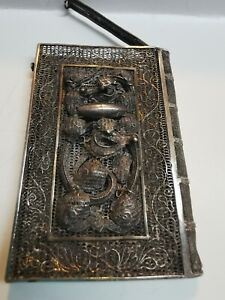 Exceptional Chinese Export Silver Filigree Dragons Card Case