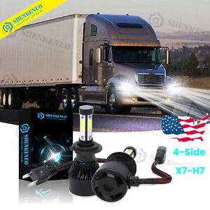 4side H7 High Low Beam Led Headlight 2x Bulbs Kit For Freightliner Century Class