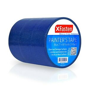Xfasten Blue Painters Tape 2 inches X 60 Yards 3 pack