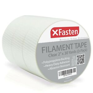 Xfasten Filament Duct Tape Transparent 2 Inches X 30 Yards 3 pack