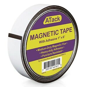 Atack Magnetic Tape Strip Roll 1 inch X 6 foot Self adhesive Peel And Stic