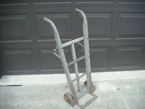 Antique Hand Truck Wood steel Primitive Cart Iron Wheels Very Old Local P u Only
