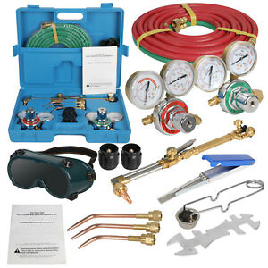 Gas Welding Cutting Set Oxy Oxygen Acetylene Type Torch Welder Carrying Case