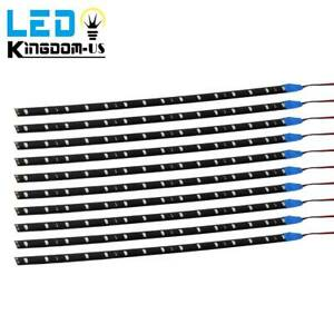 10x Blue 15 Led 2835 Smd Strip Light Flexible Car Boat Trailer Signal Lights 12v