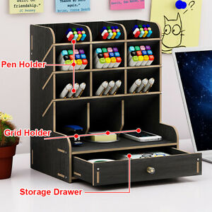 Multifunction Office Desk Organizer Desktop Pen Pencil Storage Container New
