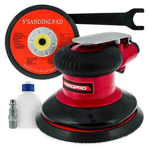 5 Dual action Random Orbit Air Palm Sander With Psa And Hook loop Backing Pads