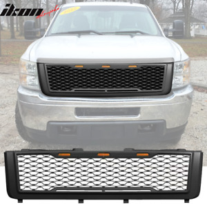 Fits 11 14 Chevy Silverado 2500 3500 Hd Front Bumper Hood Grille Matte Black