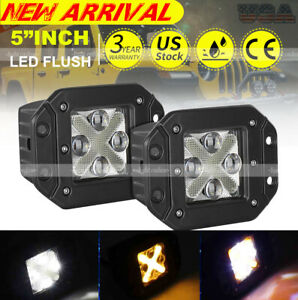 2 X 5 Inch 4 Row Flush Mount Led Light Bar Rear Bumper Reverse Driving Pods