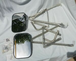 Nos Universal Side View Mirrors Low Mount Bracket Assembly Set Pickup Camper