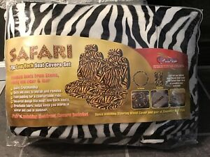 New Safari White Black Zebra Print Low Back 7pc Seat Covers W Headrest Covers