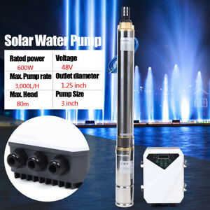 3 Dc Solar Water Pump 48v 600w Submersible Mppt Deep Bore Well Pump80m 3 000l h