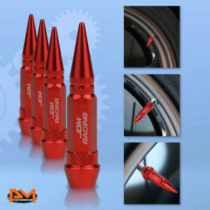 4 Pcs Red Aluminum Tires Stem Caps 60mm Spiked Lug Nug Wheel Air Valve Cover