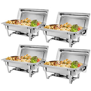 8 Qt stainless Steel Rectangular 4 Pakcs Buffet Trays Chafer Chafing Dish Warmer