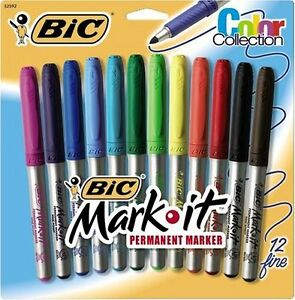 Bic Mark it Gripster Permanent Marker Fine Marker Point Type Assorted Ink