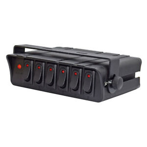 6 gang Red Rocker Toggle Switch Panel Box Led Backlit 20a For Car Boat