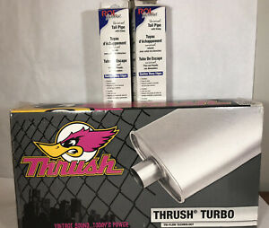 Dynomax 17711 Thrush Turbo Muffler 4 25 X 9 75 2 In Inlet Outlet Oval
