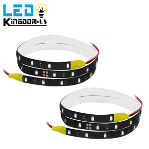 2x 60cm Yellow 2835smd 30led Flexible Strip Light Waterproof Car Motor Truck 12v