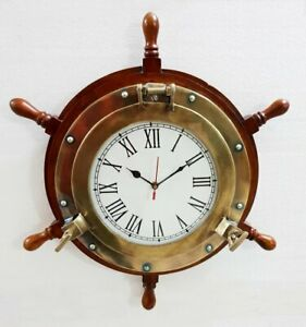 Antique Marine 18 Wooden Ship Wheel Porthole Vintage Nautical Wall Clock