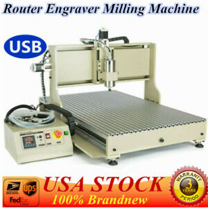 Cnc 4axis Router 6090 Engraver Usb Drill Milling Machine Metal Woodworking 1 5kw
