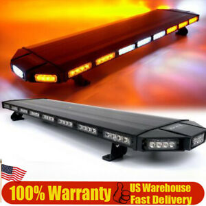 47 108led Strobe Light Bar Response Emergency Beacon Warn Tow Truck Amber White