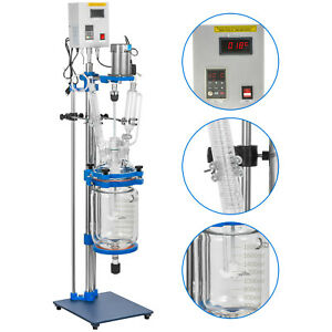 2l Jacketed Glass Reactor Reaction Vessel 100w Digital 0 1200r min Chemical Lab