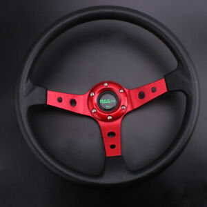 345cm Deep Dish Drifting Racing Steering Wheel Aluminum With Qr Snap Adapter Us