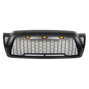 Front Bumper Grill For 2005 2011 Toyota Tacoma Honeycomb Grille W lights Black