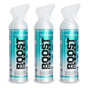 Boost Oxygen Natural 10 Liter Pure Oxygen Canister Menthol Eucalyptus 3 Pack