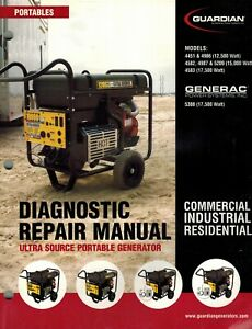 Generac Guardian Portable Generator Diagnostic Repair Manual new