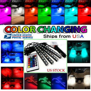 4pcs 36 Led Car Interior Atmosphere Neon Lights Strip Rgb Multicolor Ir Remote