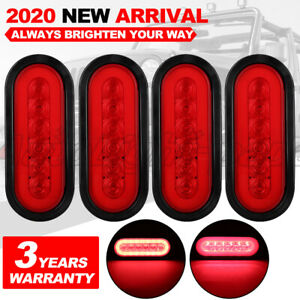 4 X 6 Inch Oval Trailer Truck Led Sealed Red Turn Signal Tail Light Waterproof