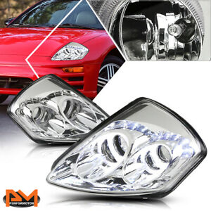For 00 05 Mitsubishi Eclipse Led Halo Ring Projector Headlight Amber Side Chrome