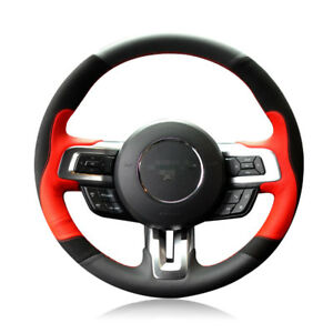 Black red Leather Custom made Car Steering Wheel Cover For Ford Mustang 15 2017