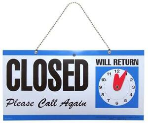 Hillman 848653 Open Closed With Clock 2 Sided Reversible Sign Multicolored