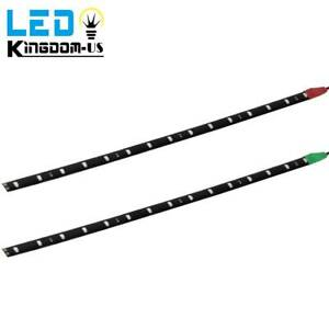 2x 30cm 2835 Smd Led Strip Light Red Green Waterpfoof Car Boat Motor Decor Lamps