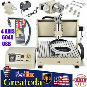 Usb 4 axis Cnc 6040 Router Engraver Wood Milling Graving Milling Machine Vfd 3d