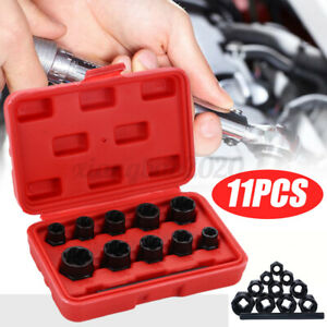 11pc Socket Set Locking Wheel Nut Remover For Broken Stud Rounded Bolts