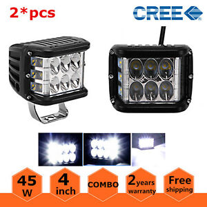 2x 4inch 45w Side Shooter Led Work Light Pod Combo Beam Driving 4wd Lamp 90w