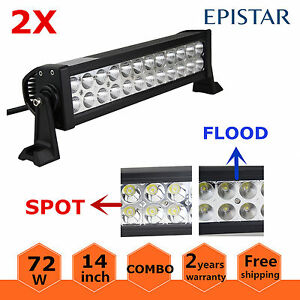 2X 14inch 72W LED Light Bar Combo Spot Flood Off-road Truck Driving ATV 12V 24V